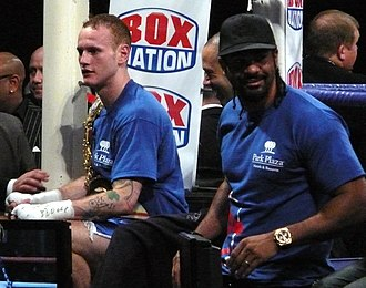 George Groves (boxer) - Groves with Adam Booth (centre) and David Haye, 2011