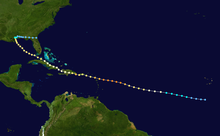A map of a path across a portion of the Atlantic Ocean. The track starts near the Cape Verde Islands, and heads generally west-northwestward. South America is depicted on the lower-left side of the map.