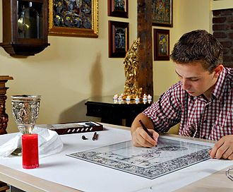 Reverse glass painting - Image: Georgeworking
