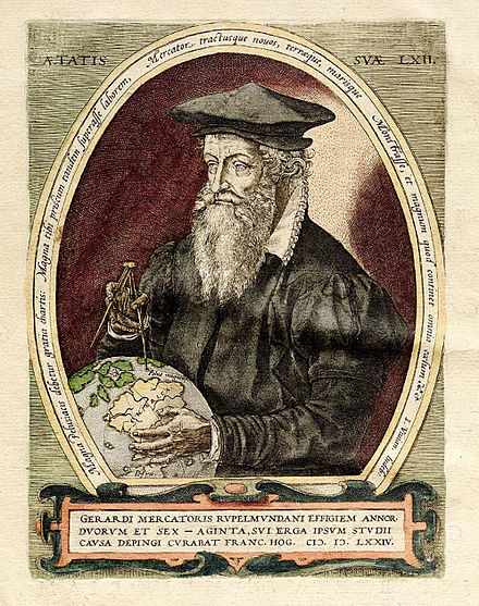 The Frans Hogenberg portrait of 1574, showing Mercator pointing at the North magnetic pole. Gerardus Mercator 3.jpg