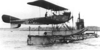 Submarine aircraft carrier - SM U-12 with a seaplane on deck