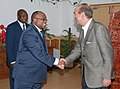 Ghulam Nabi Azad meeting the Health Minister of the Democratic Republic of Congo, Dr. Felix Kabange Numbi, to discuss the bilateral issues on Health, in New Delhi on March 22, 2013.jpg