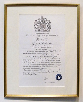 Royal Warrant of Appointment (United Kingdom) - Royal warrant from Elizabeth II on display at Savile Row tailor Gieves & Hawkes