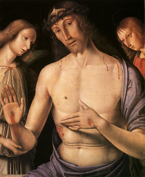 Christ supported by two angels, c.1490 (Museum of Fine Arts, Budapest). Giovanni Santi - Christ supported by two angels.jpg