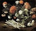 Giovanni martinelli, natura morta con rose, asparagi, peonie e garofani.jpg