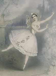 Lithograph (type of printing) of a female ballet dancer in a white dress. Small wings are attached to her back and she wears a tiara on her head. She is posing en pointe with her arms to one side.