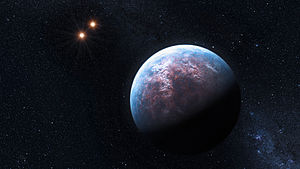 Gliese 667 - Artist's impression of Gliese 667 Cb with the Gliese 667 A/B binary in the background