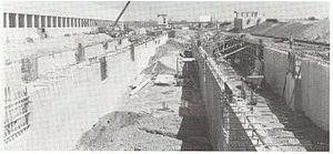 Wellington (MBTA station) - Construction of foundations for the platforms around 1973