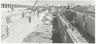 Wellington (MBTA station) - Construction of foundations for the platforms around 1973