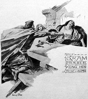 Gram of Denmark - Gram kills king Henry, illustration by Louis Moe