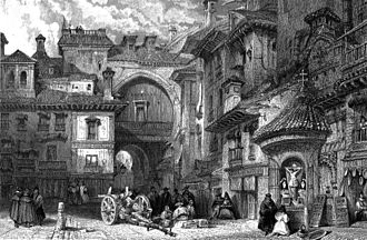 Gate of the Ears - Front facade (front side) of the Gate of the Ears of Granada around 1830s. Drawing by Scottish David Roberts, engraving by English James Baylis Allen.