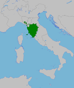 The Grand Duchy of Tuscany in 1815.