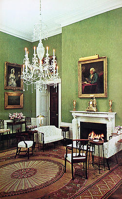 The Green Room In 1964 Looking Northeast Showing Decor Adopted During The Administration Of John F Kennedy And With A Chandelier Substitution Made At