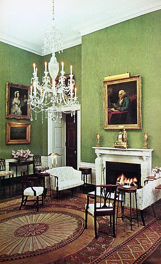 Green Room (White House) - The Green Room in 1964, looking northeast, showing decor adopted during the administration of John F. Kennedy, and with a chandelier substitution made at the request of new first lady Lady Bird Johnson.