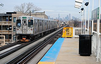 Green Line (CTA) - A Green Line train of 5000-series cars at 51st.