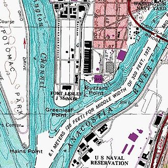 Buzzard Point - The Buzzard Point area as it appears on current USGS topographic maps.