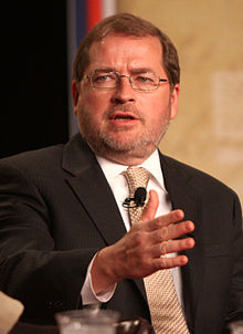 A middle aged, light complected white male with a round face, frown lines, brown hair, blue eyes, a short graying beard, glasses who is wearing a dark pinstriped suit and a pastel striped tie.
