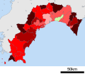 Growth rate map of municipalities of Kochi prefecture, Japan.svg