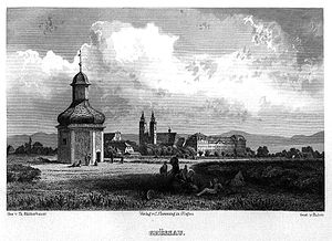 Krzeszów, Lower Silesian Voivodeship - Grüssau, 19th century depiction