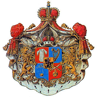 Claim of the biblical descent of the Bagrationi dynasty - The 19th-century coat of arms of the Princes Bagration-Gruzinsky, traditionally featuring the Davidic harp and sling.