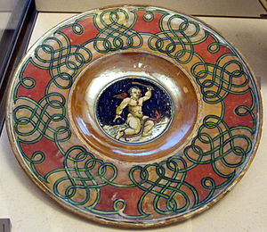 Giorgio Andreoli - Lustre dish with the characteristic red and gold colours