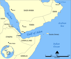 Map showing the location of the Gulf of Aden, ...