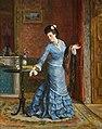 Gustave Léonard de Jonghe - Lady in blue silk dress.jpg