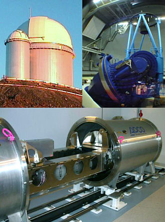 High Accuracy Radial Velocity Planet Searcher - Montage of the HARPS spectrograph and the 3.6m telescope at La Silla. The upper left shows the dome of the telescope, while the upper right illustrates the telescope itself. The HARPS spectrograph is shown in the lower image during laboratory tests. The vacuum tank is open so that some of the high-precision components inside can be seen