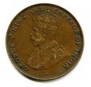 Coins of the Hong Kong dollar - 1 cent coin minted during the reign of King George V.