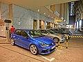 HK CWB night Gloucester Road Excelsior Hotel sidewalk carpark Mar-2013.JPG