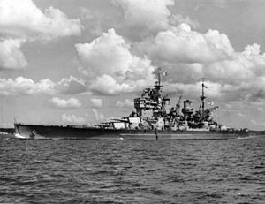HMS Howe (32) - Howe while visiting Auckland, 1945