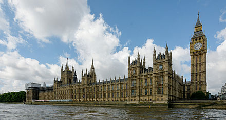 The Palace of Westminster, the seat of the Parliament of the United Kingdom HOUSES OF PARLIAMENT DSC 7057 pano 2.jpg