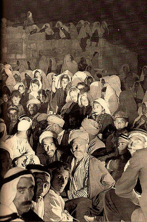 Cinema of Palestine - Villagers of Halhul waiting for an open-air film show, around 1940