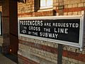 Hanwell station old subway sign.JPG