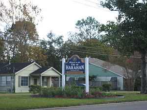 Harahan, Louisiana - Welcome sign on Jefferson Highway