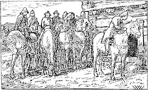 Sigurd II of Norway - King Sigurd with his men, as imagined by artist Wilhelm Wetlesen in the 1899 edition of Heimskringla.