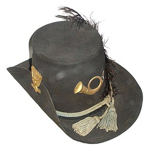 Hardee hat - Hardee hat with infantry adornment; the brim on this hat at Gettysburg National Military Park is pinned on the right, inconsistent with regulations