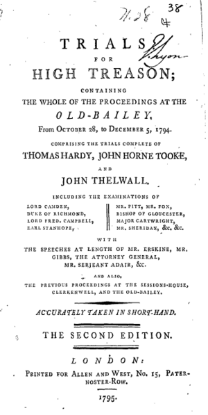 1794 Treason Trials - Thomas Hardy's account of the trials (second edition)
