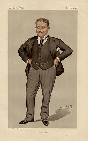 "Harry Levy-Lawson, 1st Viscount Burnham - ""Cirencester"" Levy-Lawson as caricatured by Spy (Leslie Ward) in Vanity Fair, November 1893"
