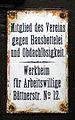 Haustürschild Mitglied des Vereins gegen Hausbettelei und Obdachlosigkeit Werkheim für Arbeitswillige, Büttnerstraße No. 12.jpg