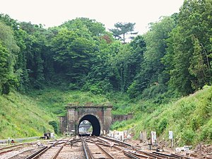 Haywards Heath railway station - Haywards Heath tunnel, southbound view from the station