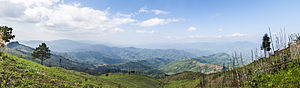 Shan State - Panorama looking out over Tachileik District, into the heart of the Daen Lao Range