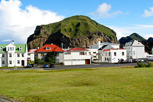 Vestmannaeyjar - Heimaklettur seen from Stakkagerðistún which is a public park in the middle of Heimaey