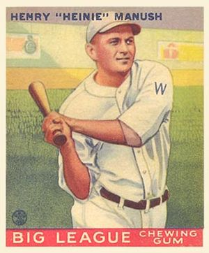Heinie Manush - 1933 baseball card of Manush