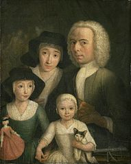 Self Portrait with his Wife Sanneke van Bommel and their two Children
