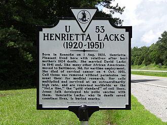 Henrietta Lacks - A historical marker memorializing Henrietta Lacks in Clover, Virginia