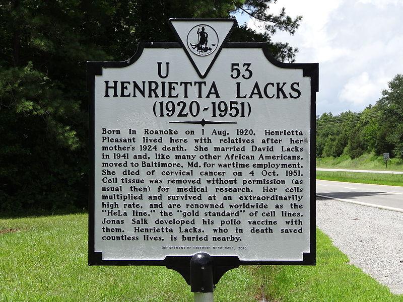 File:Henrietta Lacks historical marker; Clover, VA; 2013-07-14.JPG