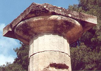 Temple of Hera, Olympia - Doric capital at the Temple of Hera (east side, 4th column from south corner)