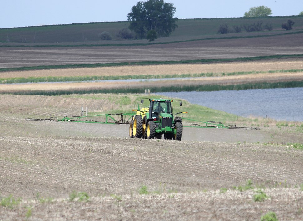 Herbicide spraying, Carlson Waterfowl Production Area in LaMoure County, ND