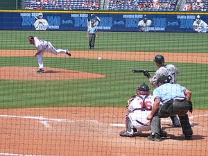Bunt (baseball) - Jeremy Hermida of the Florida Marlins attempting to bunt.